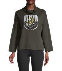 kenzo women's graphic sweatshirt - dark khaki - size s