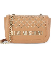 love moschino women's studded logo crossbody bag - camel