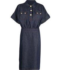 boutique moschino dark-wash denim dress - blue