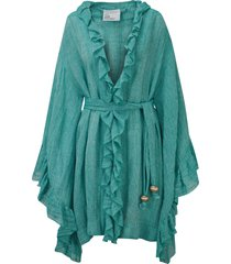 lisa marie fernandez anita ruffle linen-blend cover-up robe, size 1 in turquoise gauze at nordstrom