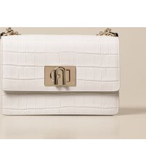 furla shoulder bag 1927 furla bandoliera bag in leather with crocodile print