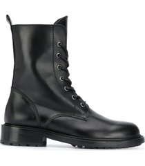 paul warmer lace-up military boots - black