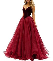 fanmu sweetheart tulle long prom dress evening gowns burgundy us 20plus