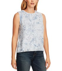 vince camuto floral-print sequined top