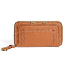 women's chloe 'marcie - long' zip around wallet - brown