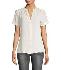 splitneck ruffle-edge shirt