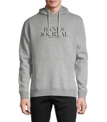 banks journal men's heathered logo organic cotton & recycled polyester hoodie - heather grey - size s
