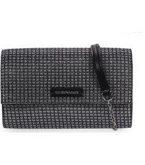 emporio armani black silver wallet with chain