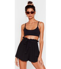 womens in the paperbag belted cover-up shorts - black