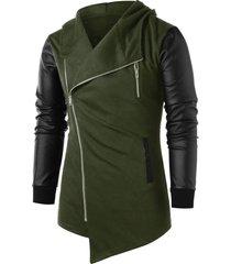 asymmetric panel zip embellished coat