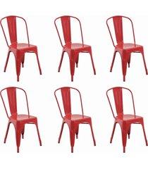 conjunto 06 cadeiras iron vermelha rivatti