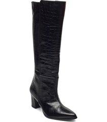 tea black croco leather höga stövlar svart flattered