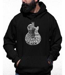 men's rock guitar head word art hooded sweatshirt