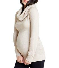 women's ingrid & isabel cowl neck maternity sweater, size medium - beige