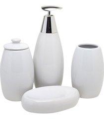 conjunto para banheiro cerâmica 4pçs prestige branco prestige
