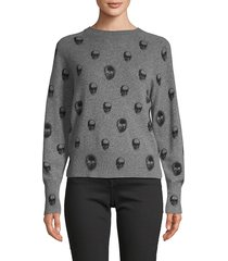 360 cashmere women's printed cashmere sweater - mist blue navy - size s