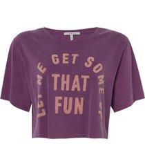 camiseta rosa chá fun malha algodão roxo feminina (grape juice, gg)