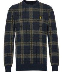 check knitted jumper stickad tröja m. rund krage blå lyle & scott