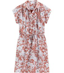 blommig skjortklänning med kort ärm
