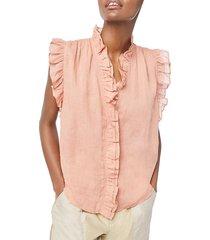 frame women's lauren ruffle-trim top - bright terracotta - size xl