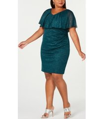 connected plus size metallic popover dress
