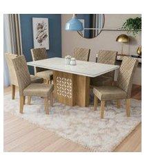 mesa com 6 cadeiras p/ sala de jantar betula kappesberg d005 freijó/off