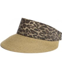 eric javits 'squishee(r) champ' custom fit visor in natural/leopard at nordstrom