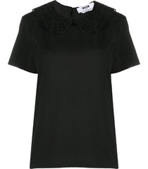 msgm lace peter-pan collar blouse - black