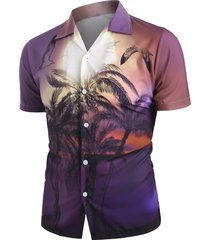 palm tree landscape print beach shirt