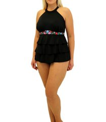 fit 4 u folkloric embroidered band high neck 3 tier tankini women's swimsuit