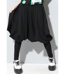 donna harem pantaloni plissettati con elastico a vita in colore a tinta unita