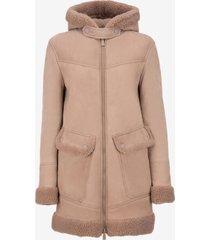 shearling parka jacket pink 40