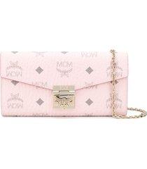 mcm patricia crossbody wallet - pink