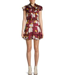 lashay floral tie-neck mini dress