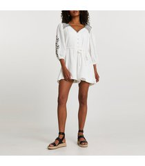 river island womens cream long sleeve embroidered romper