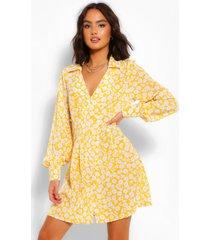 bloemenpatroon blouse jurk, mosterd