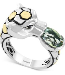effy green quartz (1-3/4 ct. t.w.) & black spinel (1/3 ct. t.w.) leopard ring in sterling silver & 18k gold over sterling silver