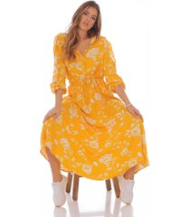 vestido largo estampado manga 3/4 101252-00