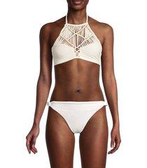 mikoh swimwear women's waimea bikini top - bone - size l