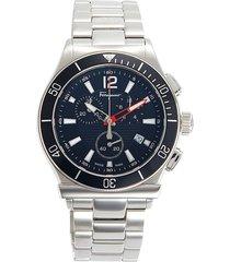 salvatore ferragamo men's stainless steel bracelet chronograph watch - grey