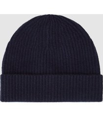 reiss cassius - cashmere ribbed beanie in navy, mens