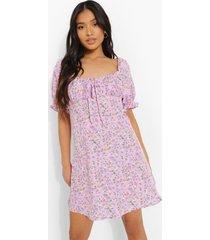 petite bloemenpatroon mini jurk met pofmouwen, lilac