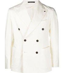 tagliatore unstructured double-breasted blazer - white