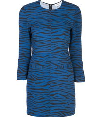 a.l.c. stretch fit tiger-print dress - blue