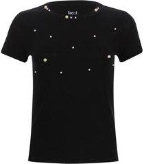 camiseta mujer unicolor con perlas color negro, talla 10