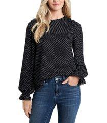 cece ruffled dot-print drapey blouse