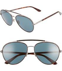 men's tom ford curtis 59mm aviator sunglasses - red havana/ blue