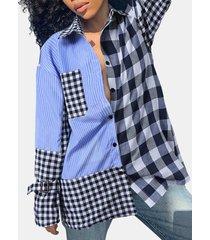 camicetta casual da donna a maniche lunghe con bottoni patchwork a quadri