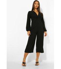wide leg jumpsuit met lange mouwen, black
