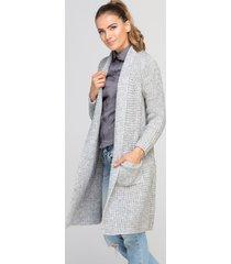 sweter długi kardigan z ciepłej dzianiny
